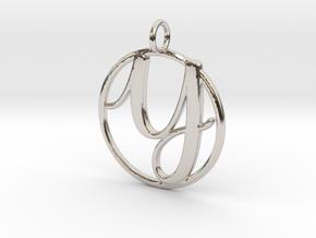 Cursive Initial Y Pendant in Platinum
