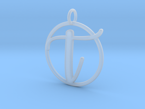 Cursive Initial T Pendant in Smooth Fine Detail Plastic