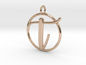 Cursive Initial T Pendant in 14k Rose Gold