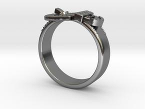 Western Belt Buckle Ring in Polished Silver