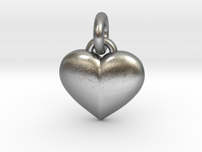 Puffed Heart in Natural Silver (Interlocking Parts)