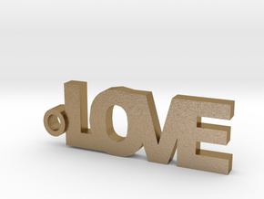Love Keychain in Polished Gold Steel