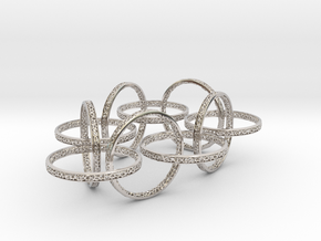 Ten hoop voronoi bracelet 7.5 inches approximately in Rhodium Plated Brass