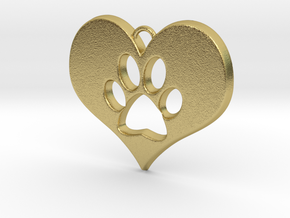 Paw Print Heart in Natural Brass