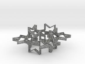 Star of David voronoi bracelet 7.5 inches approxim in Natural Silver (Interlocking Parts)