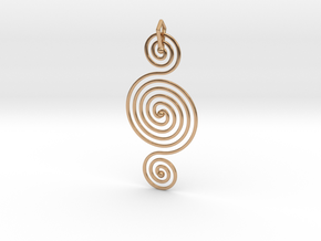 Triple Spiral Pendant in Polished Bronze