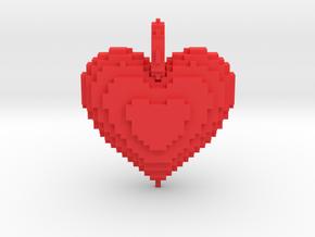 Blocks Heart Pendant in Red Processed Versatile Plastic