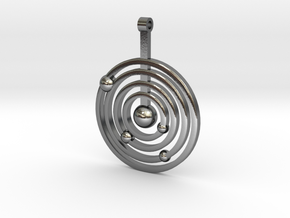 Solar system round pendant in Polished Silver