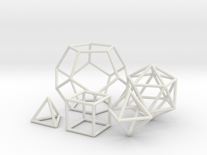 platonic solids wireframe in White Natural Versatile Plastic: Small