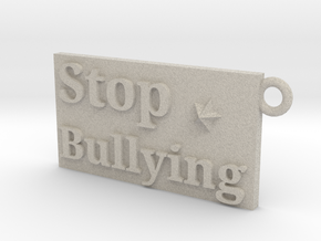 Stop Bullying Keychain in Natural Sandstone