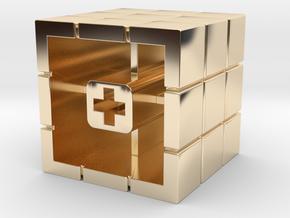 Artisan Cherry keycap Rubiks Cube in 14k Gold Plated Brass