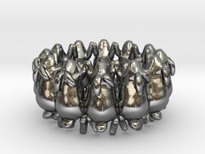 Rorschach Rabbit Ring in Polished Silver: 4 / 46.5