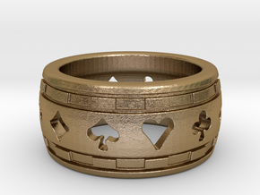 Poker Ring in Polished Gold Steel: 4 / 46.5