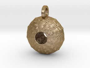 Sea Urchin Pendant in Polished Gold Steel