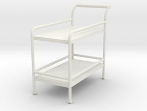 1:24 Tea Cart in White Natural Versatile Plastic