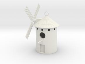 Spanish Windmill Birdhouse in White Natural Versatile Plastic