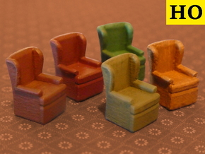 HO Pullman Car Wingback Chair Set in Smooth Fine Detail Plastic: Small