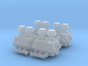 Set of 4 - Flathead V8 Stock Engine Dual Intake in Smooth Fine Detail Plastic