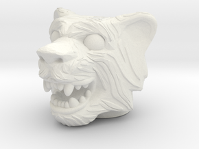 Tigerman Head - Multisize in White Natural Versatile Plastic: Medium