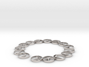 Bangle with 15 yoga poses 66.9 mmm in Platinum