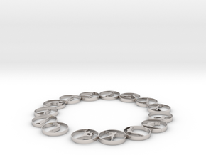 Bangle with 15 yoga poses 70 mmm (1) in Rhodium Plated Brass