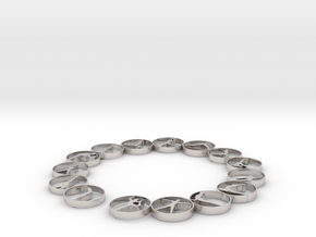 Bangle with 15 yoga poses 54 mmm (1) in Rhodium Plated Brass