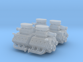 Set of 4 - Flathead V8 Supercharged w. Stock pipes in Smooth Fine Detail Plastic