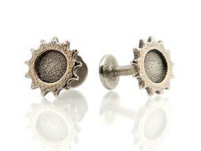 Bicycle Track Sprocket Cog Cufflink in Polished Bronzed Silver Steel