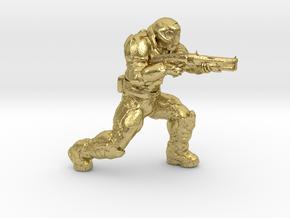 doomguy doom slayer 28mm heroic scale with shotgun in Natural Brass