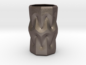 Curvilinear Pencil Holder in Polished Bronzed-Silver Steel