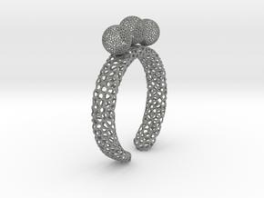 Voronoi fidget ring. Size 6. Balls spin,.  in Gray PA12