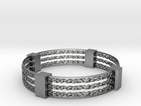 Voronoi spinner bracelet in Natural Silver (Interlocking Parts)
