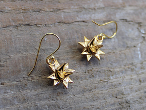 Froebel Star Earrings - Christmas Jewelry in 14k Gold Plated Brass