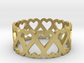heart symmetric ring size 4.5 in Natural Brass