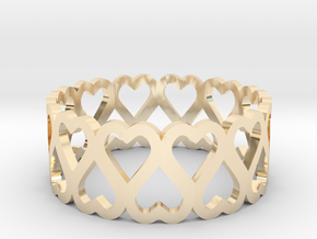 heart symmetric ring size 6.5 in 14k Gold Plated Brass