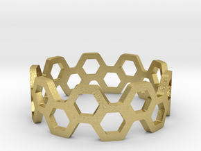 bee ring 2 rows size 5 in Natural Brass