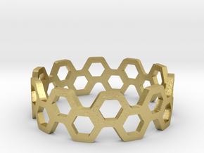 bee ring 2 rows size 7 in Natural Brass