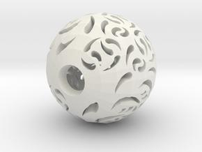Hollow Sphere 2 in White Natural Versatile Plastic