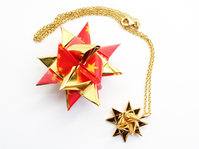 Froebel Star Pendant - Christmas Jewelry in 14k Gold Plated Brass