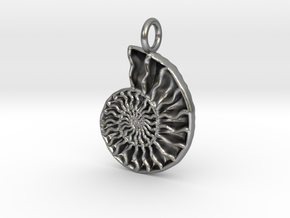 Ammonite Pendant - Fossil Jewelry in Natural Silver