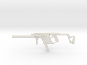1:12 Miniature Kriss Vector Machine Gun  in White Natural Versatile Plastic: 1:12