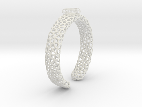 Size 6 voronoi cage ring with spinning voronoi bal in White Natural Versatile Plastic