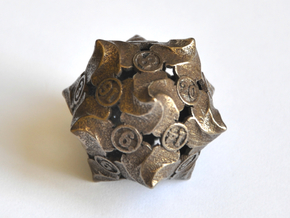D20 Balanced - Fire in Polished Bronze Steel
