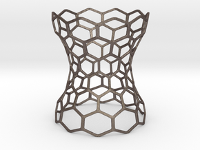 Hex Grid Vase in Polished Bronzed-Silver Steel: Extra Small