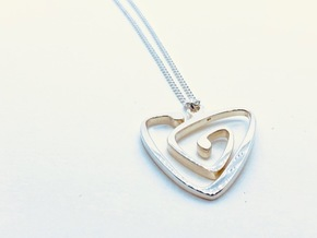 Nouveau Spiral Heart Pendant in Polished Silver