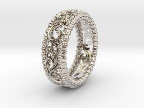 Carved Floral Sterling Silver/Gold Wedding Ring in Platinum: 5 / 49