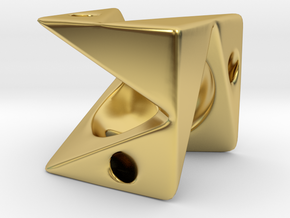 Cube Pendant Type A in Polished Brass: Small