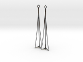 Triangle in Fine Detail Polished Silver: Medium