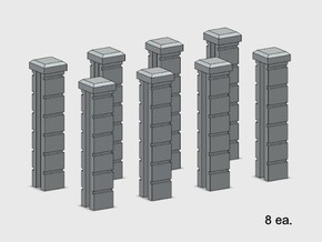 5' Block Wall - 8-Jointed Splice Columns in White Natural Versatile Plastic: 1:87 - HO