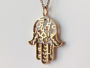 Hamsa Pendant in Polished Bronze